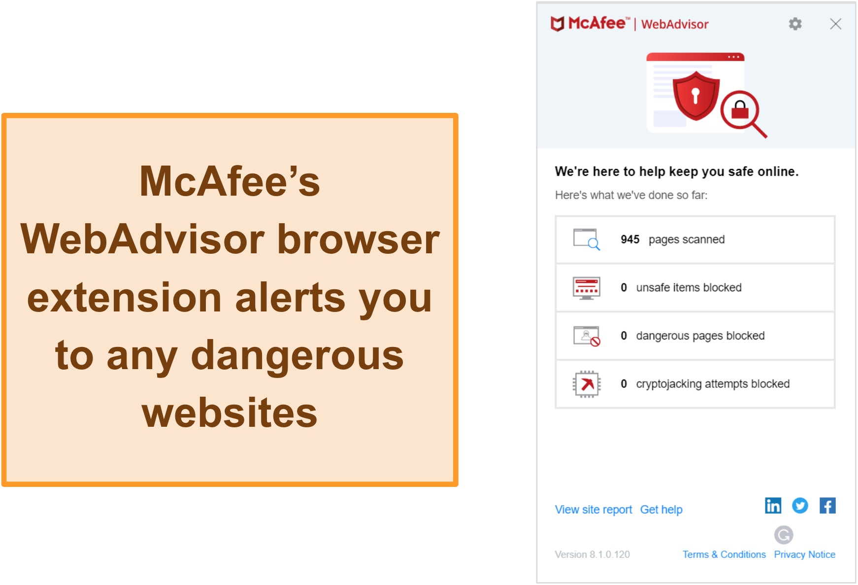 Screenshot of WebAdvisor feature on McAfee website