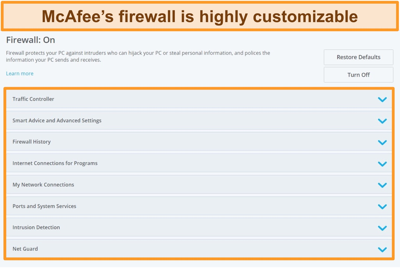 Screenshot of McAfee's Firewall features