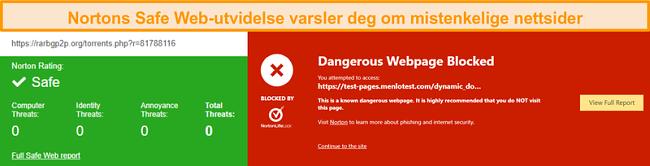 Skjermbilde av Norton Safe Web som bekrefter at et nettsted er trygt eller farlig.