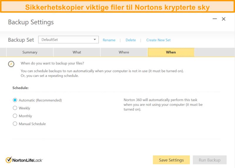 Skjermbilde av Norton 360s skylagringsalternativer og backupfrekvensvalg.