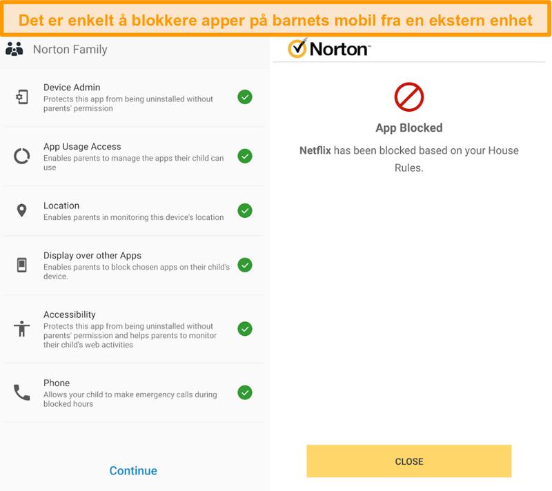 Skjermbilde av Norton 360s foreldrekontrolloversikt på mobil