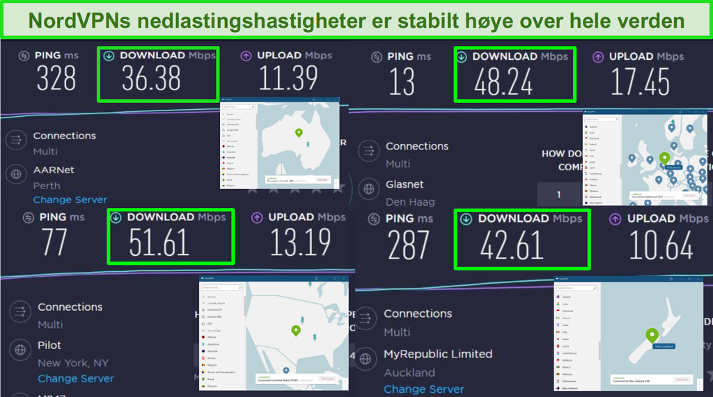 Skjermbilder av NordVPN koblet til forskjellige globale servere og Ookla hastighetstester