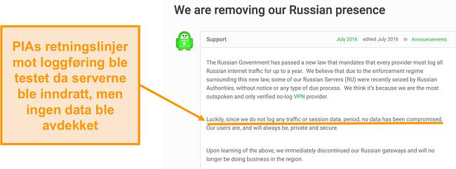Skjermbilde av Privat Internett-tilgang VPNs nettsted med et blogginnlegg som beskriver årsaken bak PIAs tilbaketrekning fra Russland