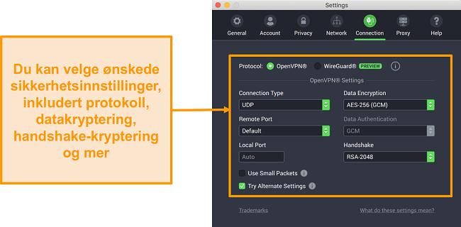 Skjermbilde av Privat Internett-tilgang VPN og appen for Mac som viser Tilpasning-fanens tilpasningsalternativer