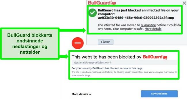 Skjermbilde av BullGuards nettsted og nedlastingsblokker.