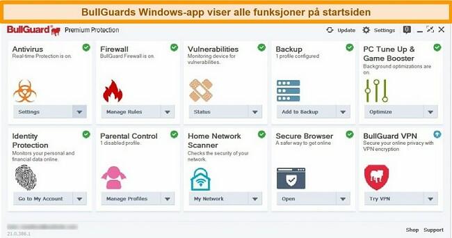 Skjermbilde av BullGuards hovedgrensesnitt slik det vises på Windows.