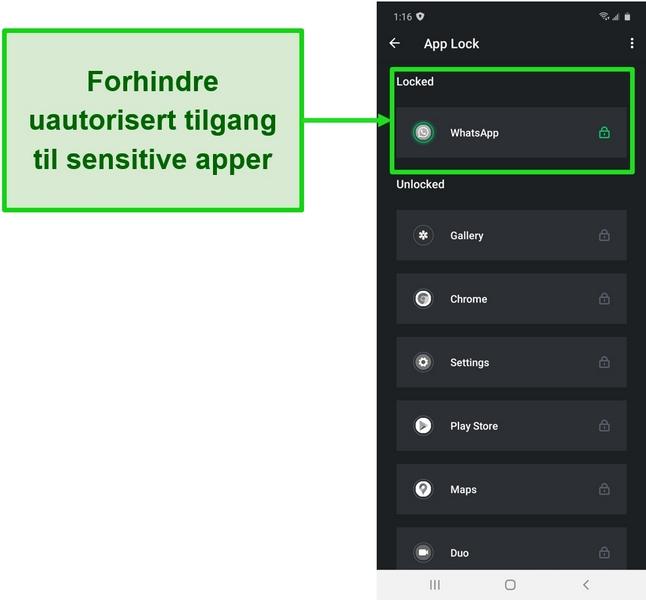 Skjermbilde som viser App Lock-funksjonen på TotalAVs Android-app