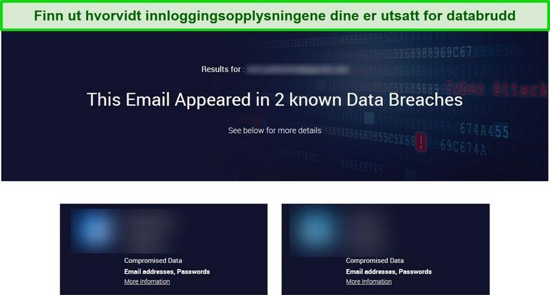 Skjermbilde som viser testresultater for brudd på data