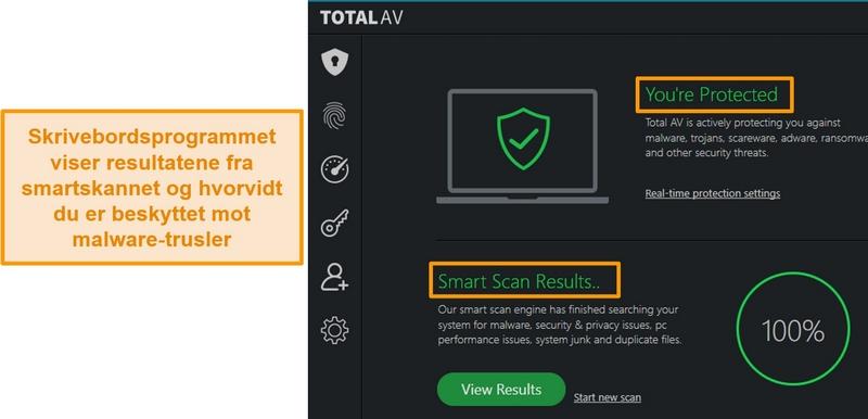 Skjermbilde som viser TotalAVs app-hjemmeside på Windows