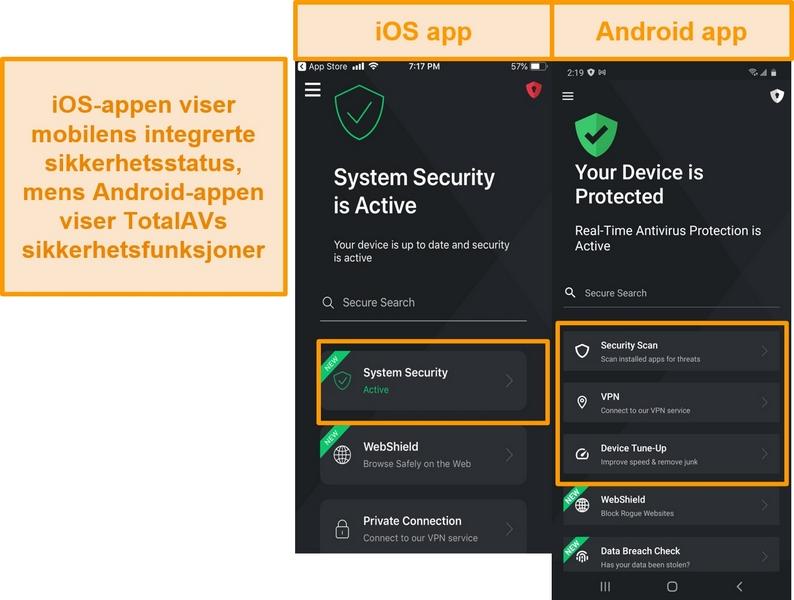 Skjermbilde som viser forskjellen mellom iOS og Android TotalAV-apper