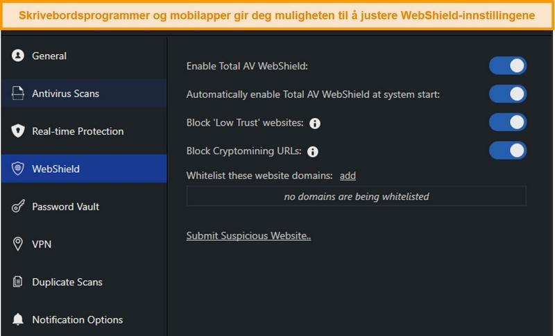 Skjermbilde av WebShield-innstillinger på TotalAVs desktop-app