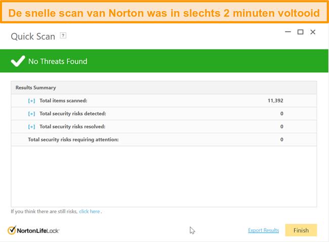 Screenshot van het snelle scanresultaat van Norton 360