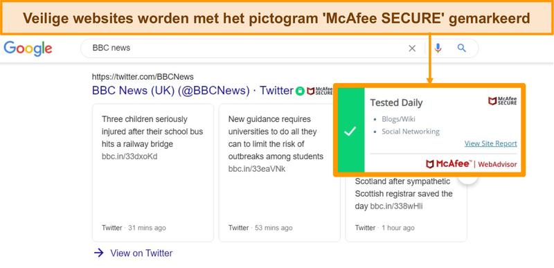 Screenshot van Google-zoekopdracht op het web met McAfee WebAdvisor die laat zien dat een site authentiek en veilig is