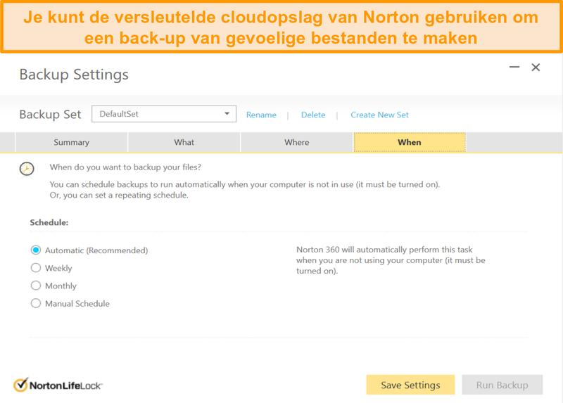 Screenshot van Norton 360's cloudopslagopties en back-upfrequentieselectie.