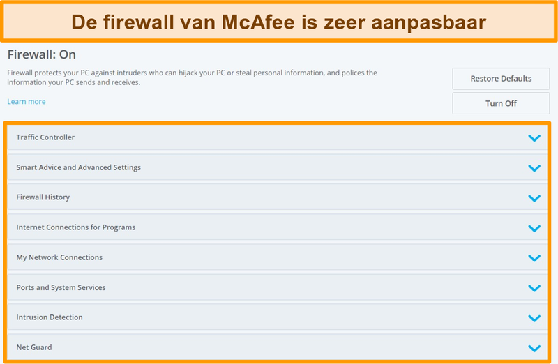 Screenshot van McAfee Firewall-functies