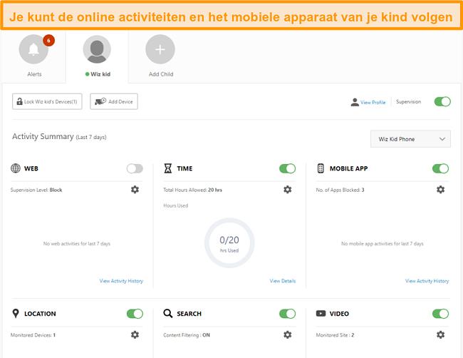 Screenshot van de instellingen voor ouderlijk toezicht van Norton 360.