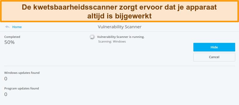 Screenshot van McAfee Vulnerability Scanner die een systeemscan uitvoert