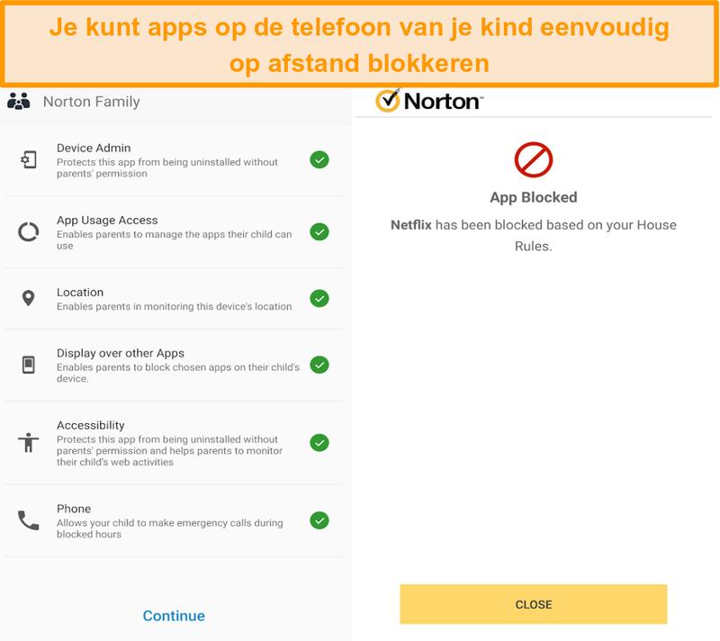 Screenshot van Norton 360's overzicht van ouderlijk toezicht op mobiele apparaten