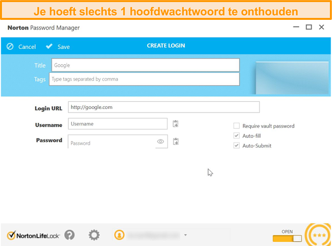 Schermafbeelding van de kluis voor wachtwoordbeheer van Norton 360