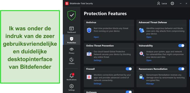Screenshot van de Windows-app-interface van Bitdefender