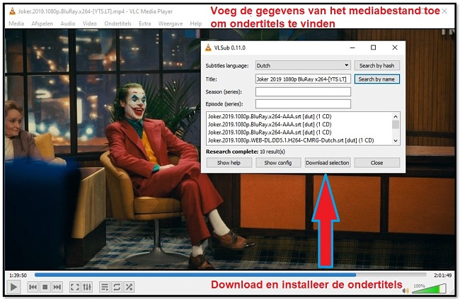 Ondertitel downloaden met VLC