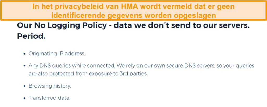 Schermafbeelding van HMA VPN (Hidemyass) en het privacybeleid van no logging