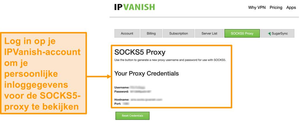 Schermafbeelding van de gratis SOCKS5-proxyserverreferenties van IPVanish op de website