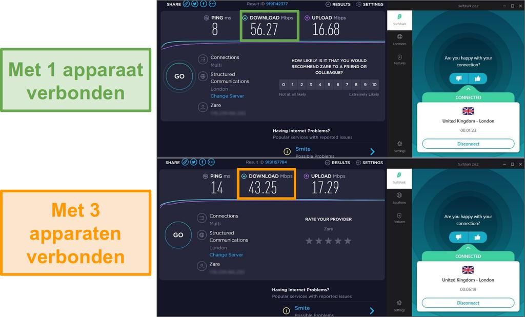 Schermafbeelding van snelheidsverschil tussen 1 aangesloten apparaat en 3 aangesloten apparaten