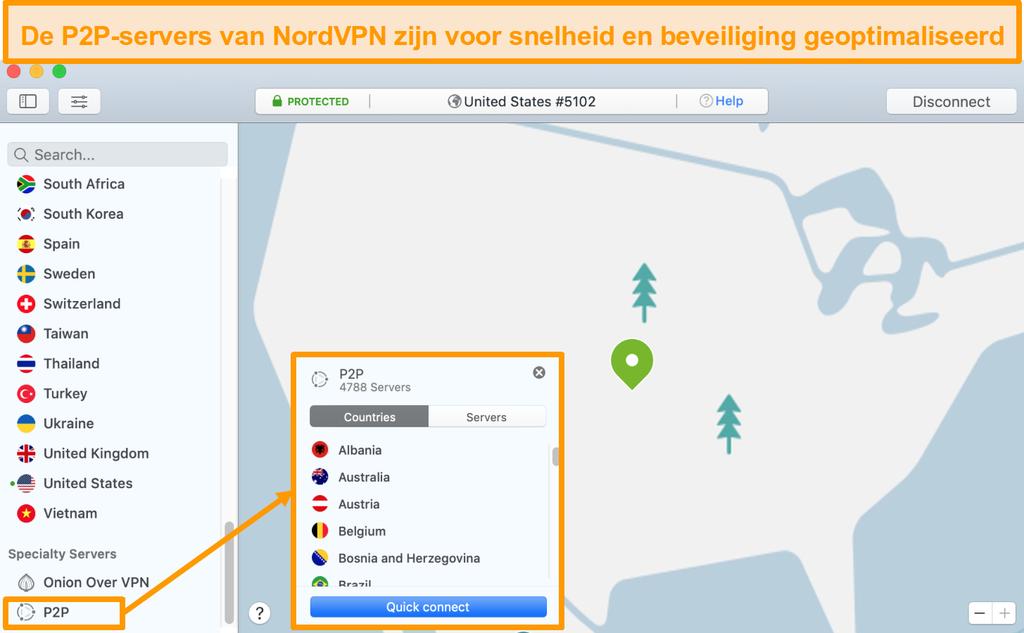 Schermafbeelding van de P2P-servers van NordVPN in de Mac-app