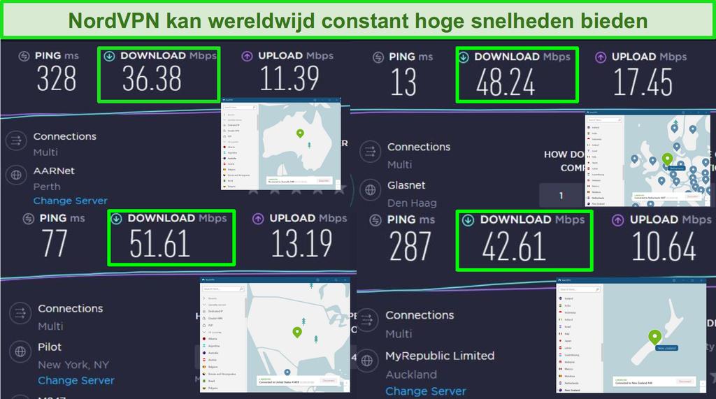 Screenshots van NordVPN aangesloten op verschillende wereldwijde servers en Ookla snelheidstests