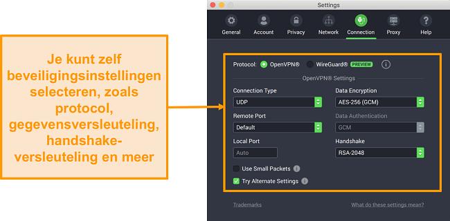 Schermafbeelding van VPN voor privé-internettoegang en de bijbehorende app voor Mac met de aanpassingsopties van het tabblad Verbinding
