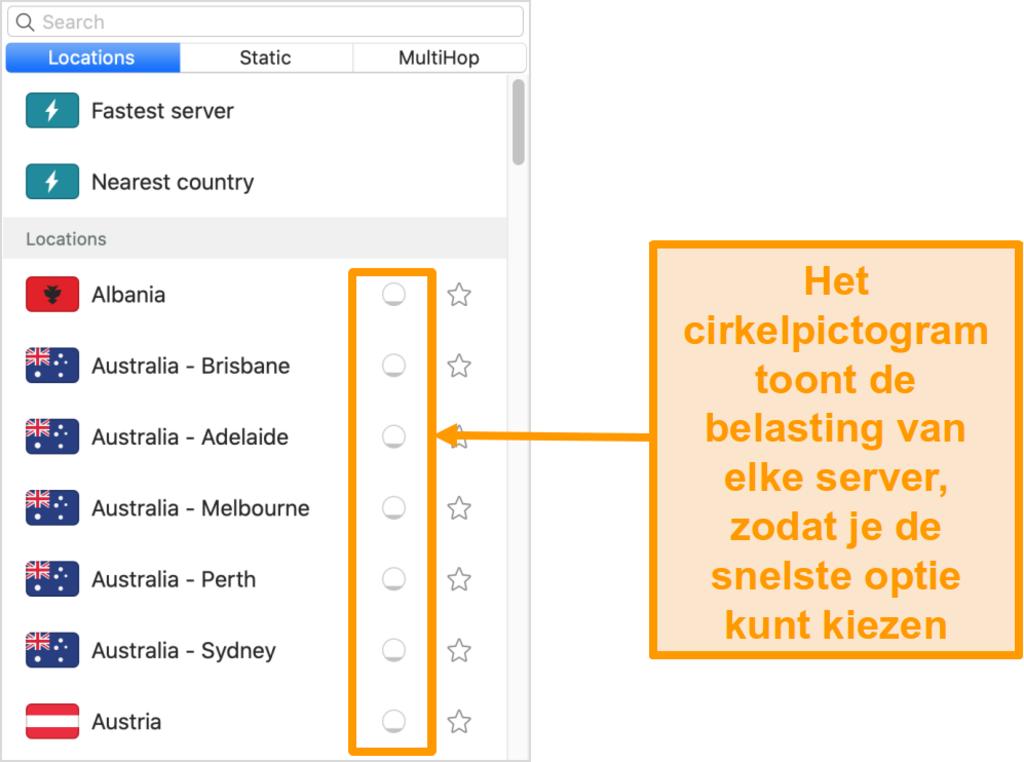 Schermafbeelding van de serverlijst van Surfshark met serverbelasting