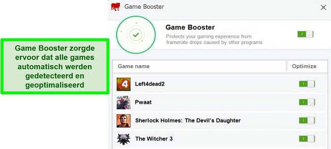 Screenshot van de Game Booster-functie van BullGuard met een lijst met automatisch geoptimaliseerde spellen