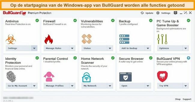 Screenshot van de hoofdinterface van BullGuard zoals deze wordt weergegeven op Windows.