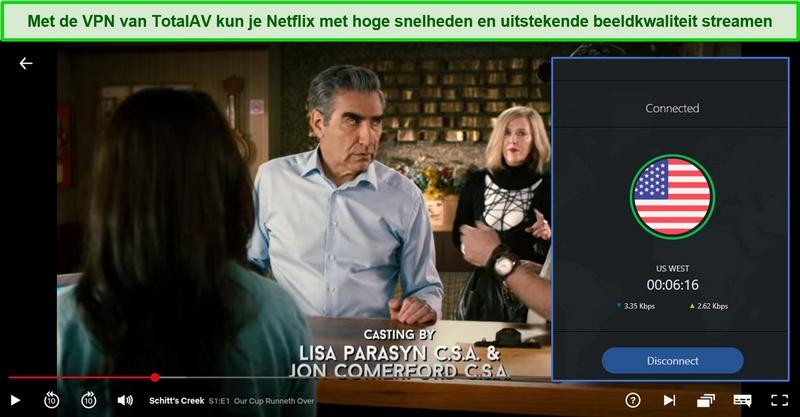 Screenshot van het tv-programma Schitt's Creek dat wordt afgespeeld op Netflix US