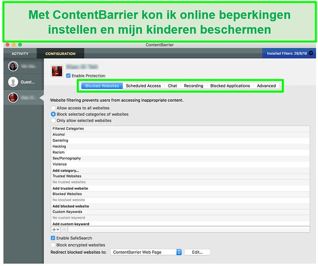 screenshot van ContentBarrier-interface met verschillende instellingen voor ouderlijk toezicht