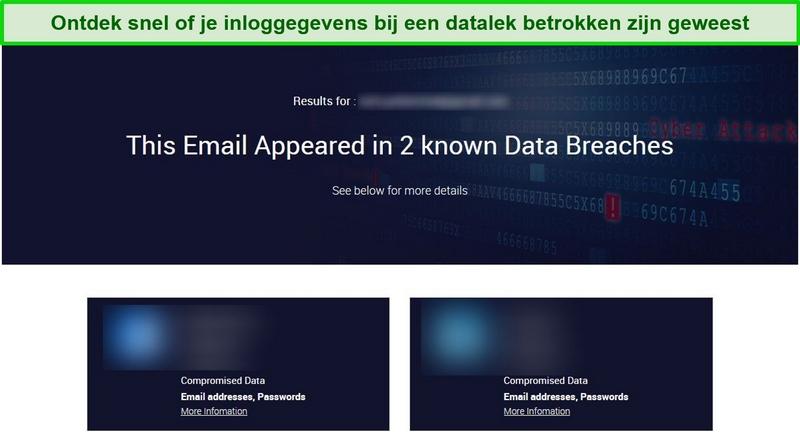 Screenshot met testresultaten voor datalekken