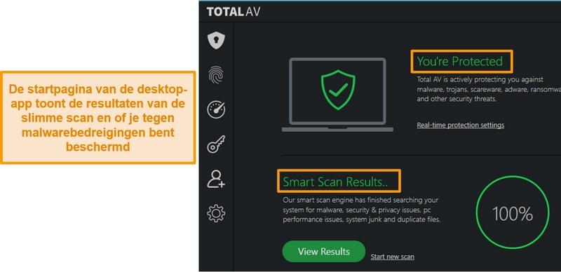 Schermafbeelding met de startpagina van de TotalAV-app op Windows