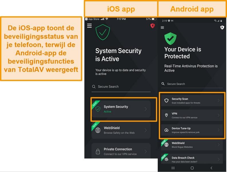 Screenshot met het verschil tussen iOS- en Android TotalAV-apps