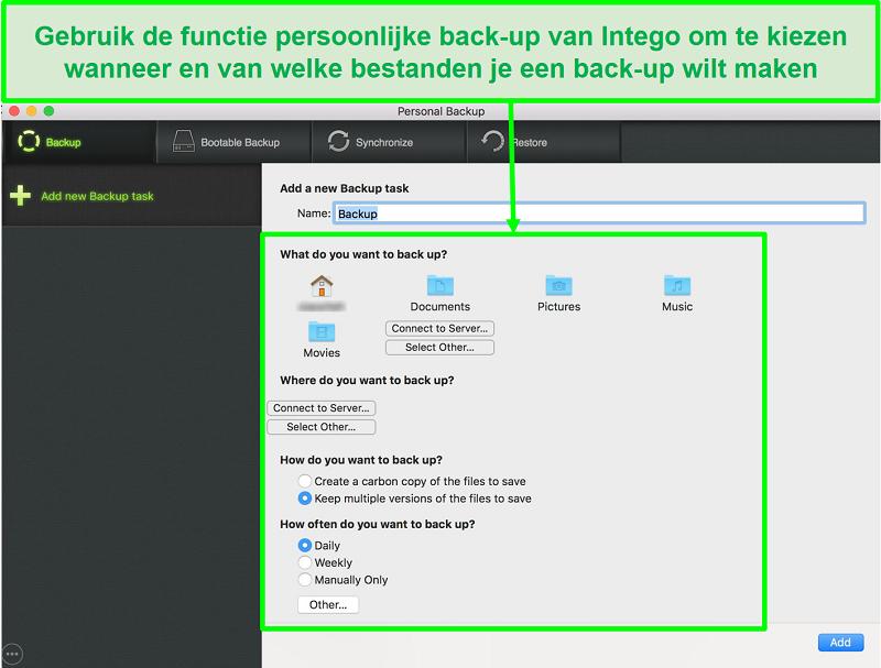 Screenshot van Intego persoonlijke back-upinterface met aanpasbare gegevensback-upopties