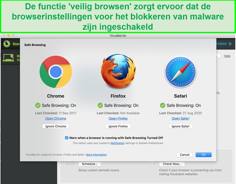 Screenshot van de Intego-interface die laat zien dat verschillende webbrowsers veilig browsen zijn ingeschakeld