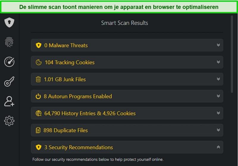 Screenshot van Smart Scan-resultaten