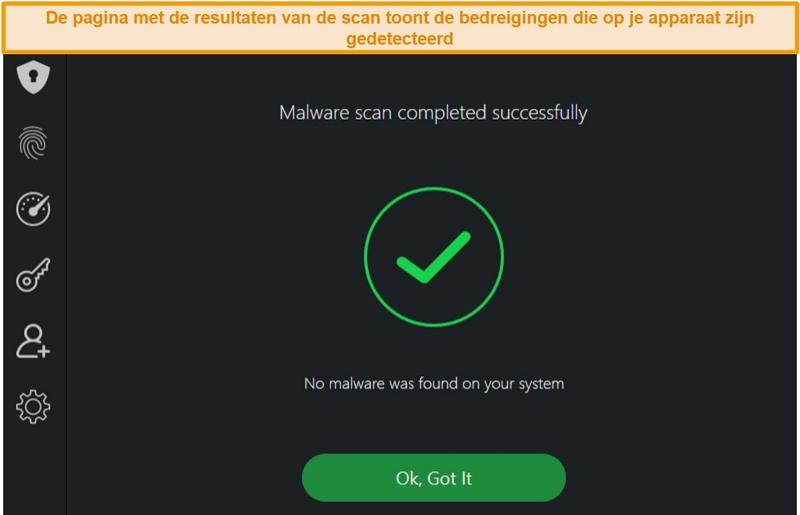 Screenshot van de resultaten van de virusscan van TotalAV