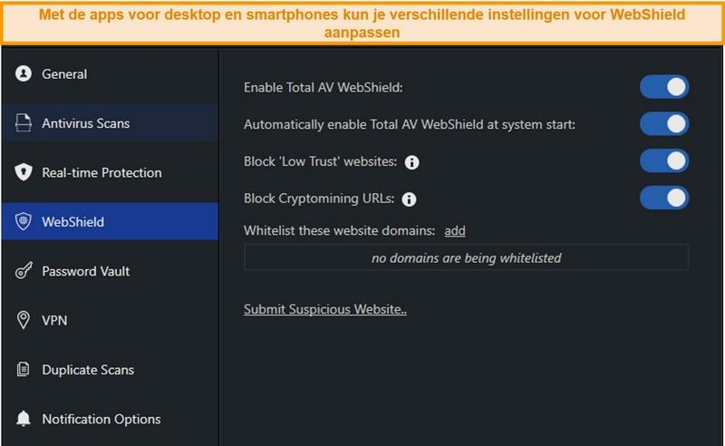 Screenshot van WebShield-instellingen op de desktop-app van TotalAV