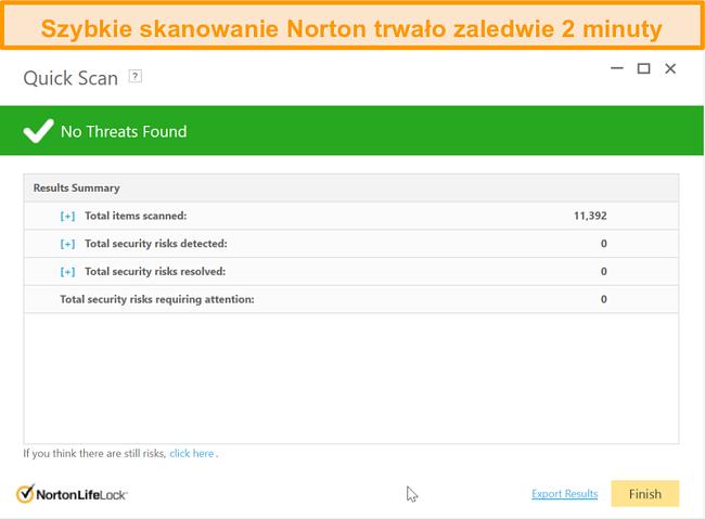 Zrzut ekranu z wynikiem szybkiego skanowania programu Norton 360