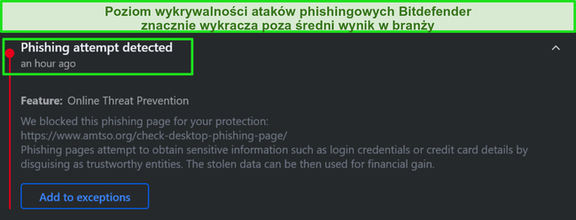 Ostrzeżenie przed phishingiem Bitdefender.