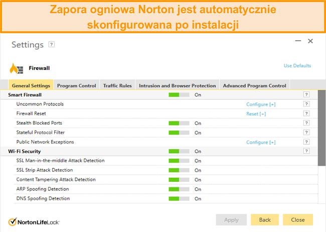Zrzut ekranu ustawień zapory sieciowej Norton 360 w systemie Windows.