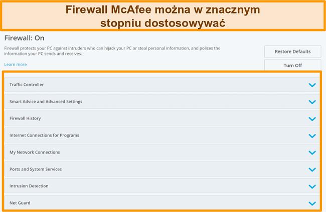 Zrzut ekranu przedstawiający funkcje McAfee Firewall