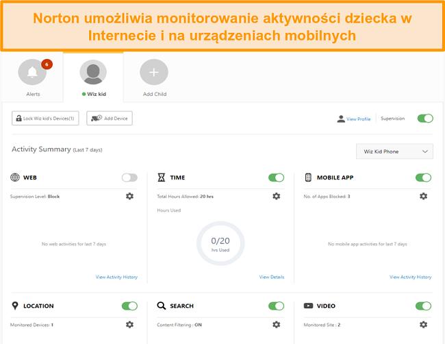 Zrzut ekranu ustawień kontroli rodzicielskiej Norton 360.