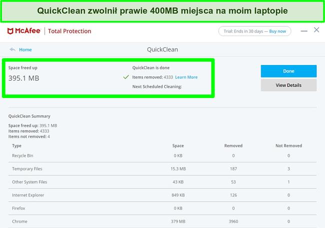 Zrzut ekranu przedstawiający funkcję McAfee QuickClean w systemie Windows